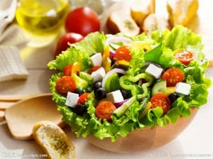 Fresh salad for dry eye diet